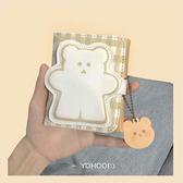 日韓小熊錢包卡通女短款零錢包按扣式PU卡包【聚寶屋】