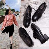 小皮鞋夏季新款單鞋韓版百搭ins復古中跟黑色學生鞋子女  朵拉朵衣櫥