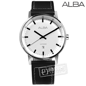 ALBA / VJ32-X272Z.AG8H37X1 / 日期顯示藍寶石水晶玻璃防水真皮手錶 白x黑 40mm