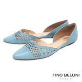 Tino Bellini 巴西 側鏤空幾何沖孔平底鞋_ 藍B83231 歐洲 款
