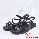 kadia.真皮閃亮鑽飾細條帶涼鞋(9122-95黑色)