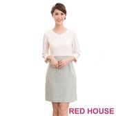 【RED HOUSE-蕾赫斯】V領假兩件式毛料洋裝(共二色)