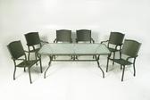 【南洋風休閒傢俱】戶外桌椅系列 - 峇里島長方桌椅組 戶外桌椅組 玻璃長方桌 (A44BR3 A14S19)
