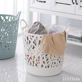 洗衣籃 鏤空印花大號手提收納籃塑料衣服籃透氣整理籃 家用收納筐 XY6046【KIKIKOKO】TW