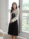 VK精品服飾 韓國風網紗雙層翻領氣質修身撞色長袖洋裝