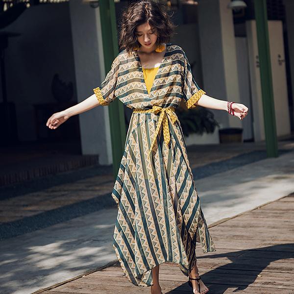 Qmigirl 巴厘島度假波西米亞撞色兩件套不規則連身裙 洋裝【WT268】