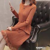 長款蕾絲毛衣裙過膝修身打底衫針織洋裝加厚圓領套頭毛衣女冬季  凱斯盾數位3c