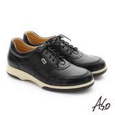 A.S.O 頂級氣墊增高寬楦 牛皮奈米綁帶休閒鞋  黑