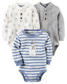 【美國Carter's】長袖純棉包屁衣3件組 - 北極熊系列 127G215