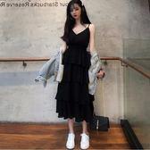 吊帶洋裝 早春新款吊帶V領多層蛋糕裙連衣裙女裙子仙女超仙森系打底裙-