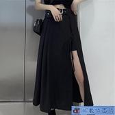 大碼黑色A字長裙 新款綁帶開叉高腰顯瘦半身裙胖mm中長款不規則裙子 3C數位百貨