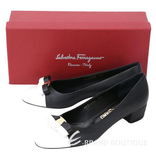 Salvatore Ferragamo VARA 撞色拼接蝴蝶結飾牛皮粗跟鞋(黑x白) 1620394-37
