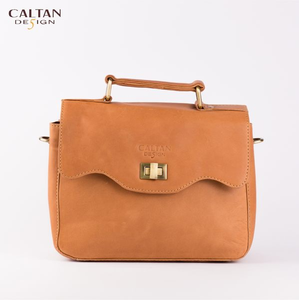 牛皮/斜背包/小包【CALTAN】甜美風輕巧波浪開口兩用斜背/手提包-5223ht