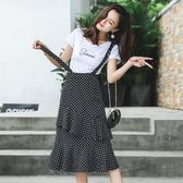 VK精品服飾 韓系復古字母上衣修身波點吊帶時尚套裝短袖裙裝