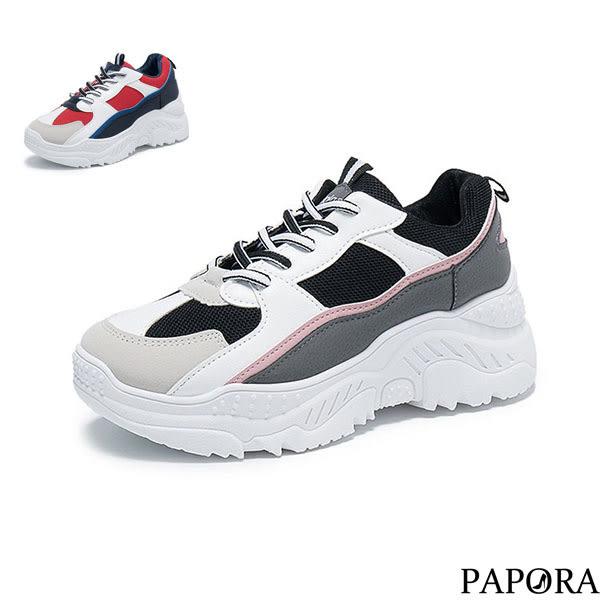 PAPORA時尚撞色休閒學生老爹布鞋KP5黑色/紅色(偏小2碼)