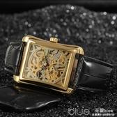復古經典品牌男生手錶時尚金色長方形手動機械錶鏤空手錶男運動錶  深藏blue