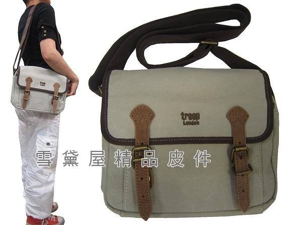 ~雪黛屋~troop 肩側包超大容量可放A4資料夾主袋+外袋共三層經典100%純棉加強防水帆布STRP0410