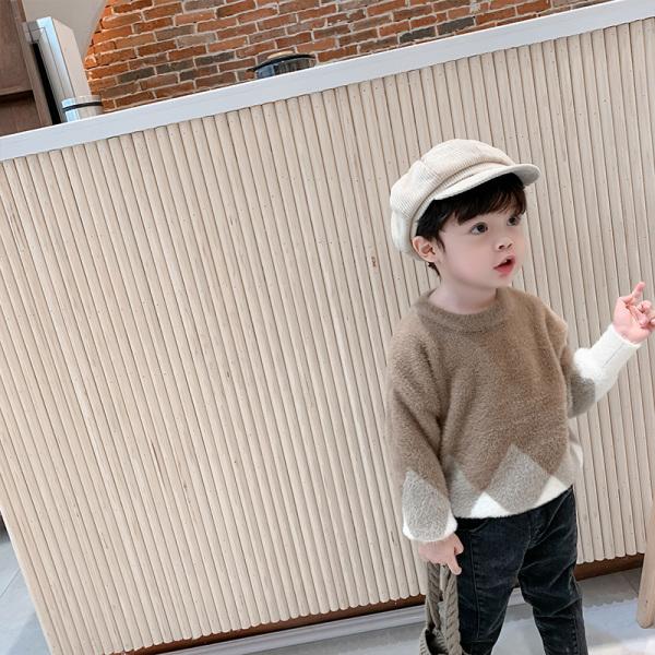 棉小班童裝兒童冬裝毛衣韓版寶寶圓領套頭上衣男童水貂絨針織衫潮