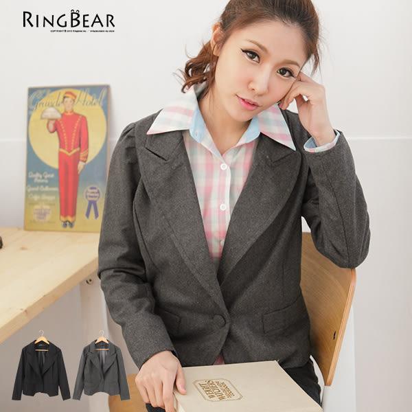 外套--時尚專業氣息毛呢小西裝收腰剪裁外套(黑.灰M-2L)-J162眼圈熊中大尺碼