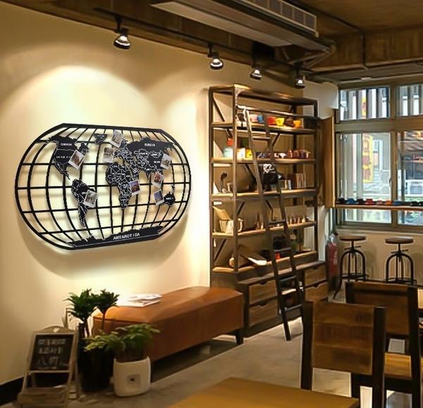 LOFT工業風世界地圖(124公分)鐵藝金屬壁牆裝飾 辦公室.酒吧.餐廳.居家鐵皮掛畫掛飾 ※僅宅配寄送
