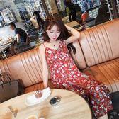 FINDSENSE G5 韓國時尚 夏季 紅色 無袖 V領 碎花 吊帶 連身裙