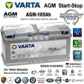 ✚久大電池❚ 德國進口 VARTA H15 AGM105 105Ah BMW M6 德國 原廠電瓶 START-STOP