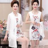 中年女春裝韓版時髦蕾絲連衣裙2018夏季兩件套裙子媽媽裝荷花外套-Ifashion
