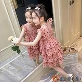 女童連身裙網美女孩夏季時尚兒童裝蛋糕公主裙子【淘夢屋】