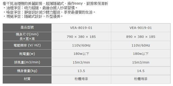 【歐雅系統家具廚具】豪山 HOSUN VEA-9019-01 隱藏式除油煙機