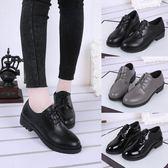 現貨出清黑色小皮鞋女英倫風圓頭系帶百搭工作鞋女防滑平跟單鞋學生鞋簡約『韓女王』