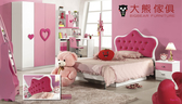 【大熊傢俱】樂屋 856 兒童床 兒童床組  儲物床  粉紅色調 童話床   三門衣櫃 書桌 套房床組
