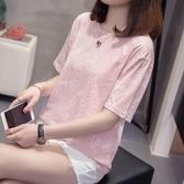 大尺碼女裝夏裝新款顯瘦短袖T恤胖妹妹寬鬆女人半袖上衣打底衫