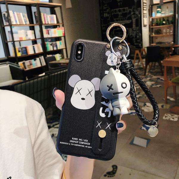 【潮牌公仔】iPhone 6s 6 Plus 情侶 手機殼 送掛飾 腕帶支架 防摔 保護套 暴力熊 手機殼 全包軟殼