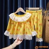 女童全棉紗布家居服組合裝洋氣春款兒童長袖褲子睡衣兩件式空調服【小桃子】