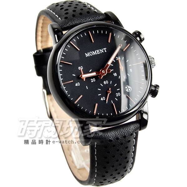 MOMENT舜時 三眼造型潮流皮革腕錶 IP黑電鍍x黑 男錶/中性錶 MO8082IP黑