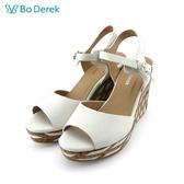 Bo Derek  拼接造型楔型涼鞋-白色