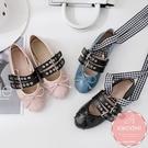 芭蕾舞鞋 方頭平底鞋 娃娃鞋 龐克款蝴蝶結綁帶 休閒鞋*Kwoomi-101