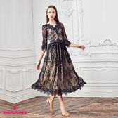 【SHOWCASE】名媛V領黑蕾絲鏤空七分袖長版洋裝(黑)