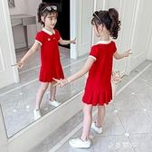 女童純棉洋裝夏裝新款洋氣網紅裝中大童夏季學院風裙子 極簡雜貨