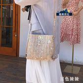 草編女2019新款夏天森系編織蕾絲仙女水桶包少女斜挎沙灘包 aj11847『黑色妹妹』