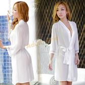 法國風情絲滑睡袍 雪紡睡衣(白)-情趣用品【390免運全面86折】