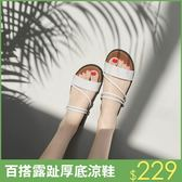 即止厚底拖鞋高跟中跟楔型  涼鞋單鞋防滑沙灘拖人字拖8 29 (庫存清出T )