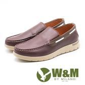 W&M 真皮滾邊休閒懶人鞋 男鞋 - 紅棕(另有藍)