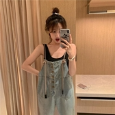 背帶褲百搭洋氣牛仔褲顯瘦背帶褲女新款夏季韓版寬鬆高腰直筒長褲子新品