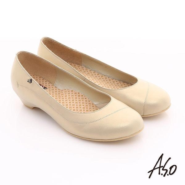 A.S.O 3E舒活寬楦 珠光牛皮奈米窩心低跟鞋 卡其