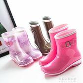 新款時尚可加絨雨鞋女雨靴中筒雨鞋水靴防滑女式鞋套水鞋  朵拉朵衣櫥