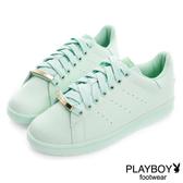 PLAYBOY 純色經典 金屬飾釦簡約休閒鞋-綠