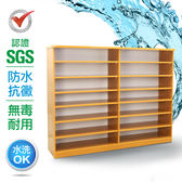 IHouse-SGS 防潮抗蟲蛀塑鋼加寬開放式置物鞋櫃木紋