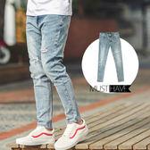 牛仔褲 簡約刷色造型割破彈性合身版牛仔褲【NB0050J】