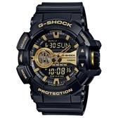 【CASIO】 G-SHOCK金屬搖滾個性運動雙顯錶-黑X金(GA-400GB-1A9)